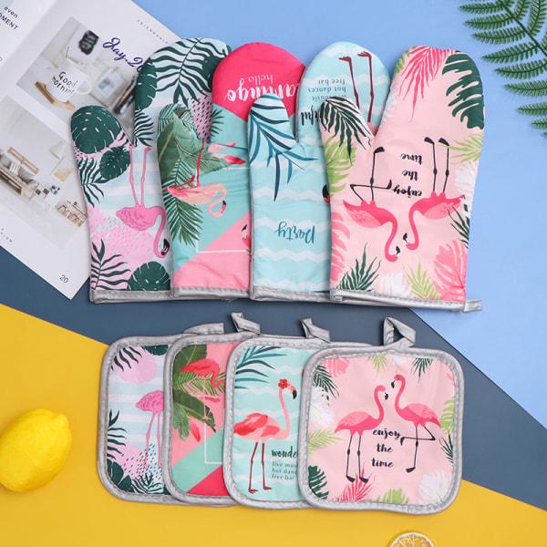 2PCS 1 Set Bomullsmode Flamingo Kitchen Pad Matlagning Mikrovågsugn
