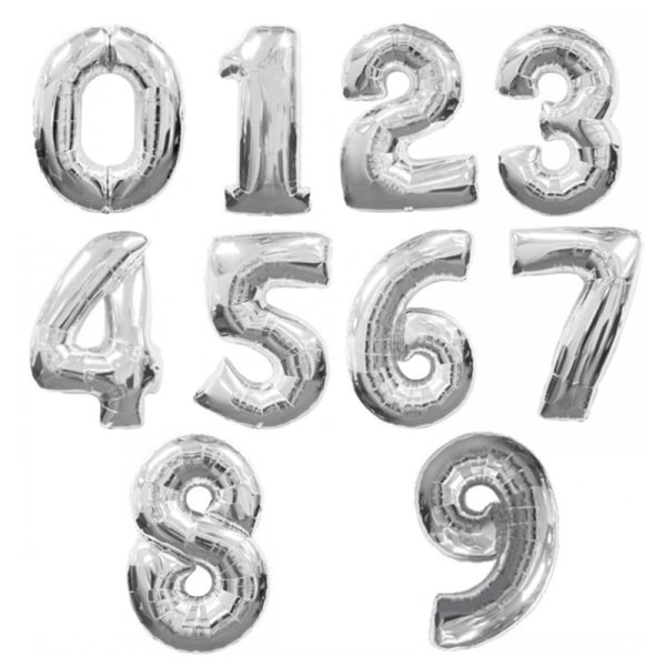 32 tums silverguld nummer ballonger digital födelsedag bröllop par