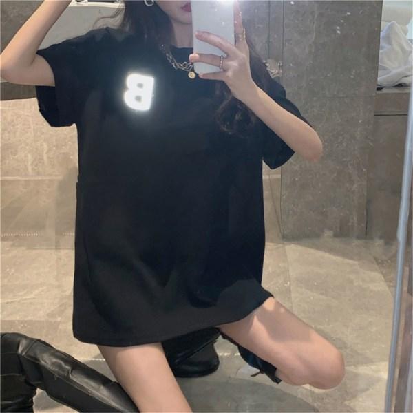 3D-bokstäver reflekterande kortärmad T-shirt damtopp