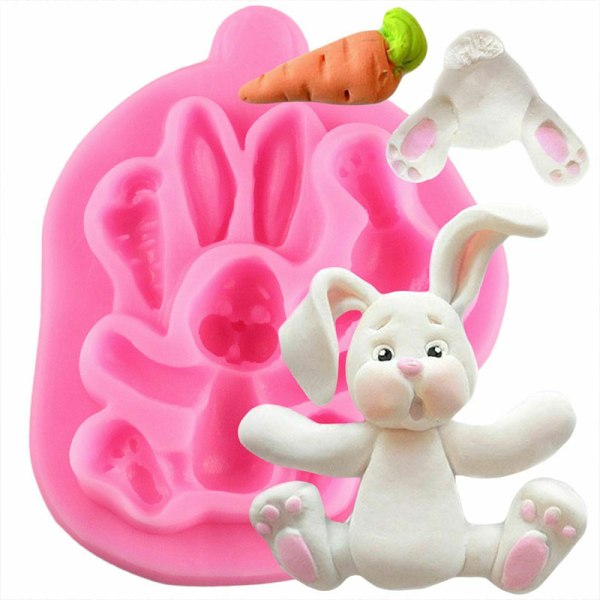 3D Rabbit Easter Bunny Silicone Mold Cupcake Fondant Cake Cookie Baking Mould