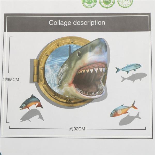 3D Shark Ocean Mural Removable Wall Sticker Art Vinyl Decal Kid