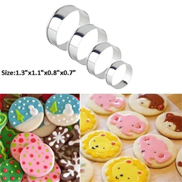 4 st rostfritt stål Round Circle Cookie Fondant Cake Mold Cu