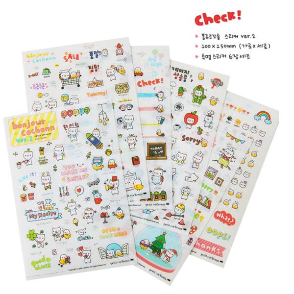 6 ark gris genomskinlig kalender dagbok bok klistermärke klippbok