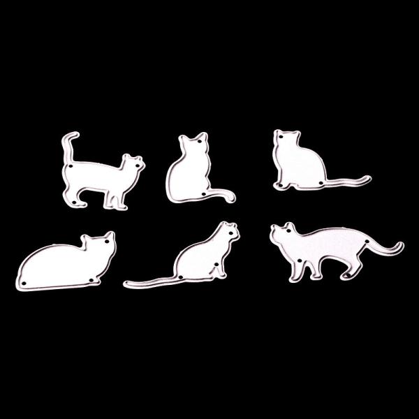 6st kattmetallskärningsmunstycken stencil klippbok bokhantverk