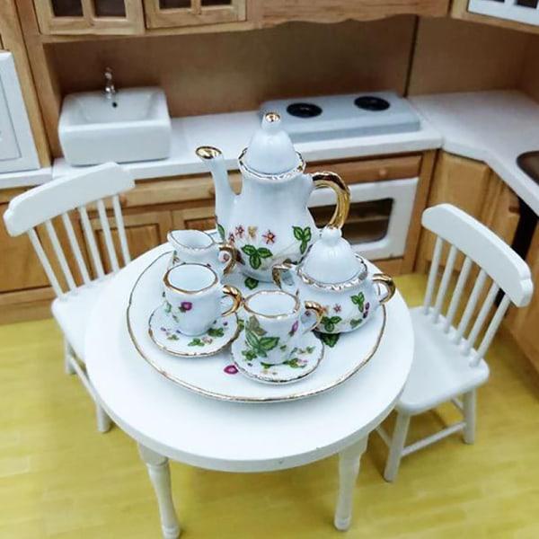 8Pcs/set 1:12 Dollhouse Miniature Dining Ware Porcelain Tea Dish