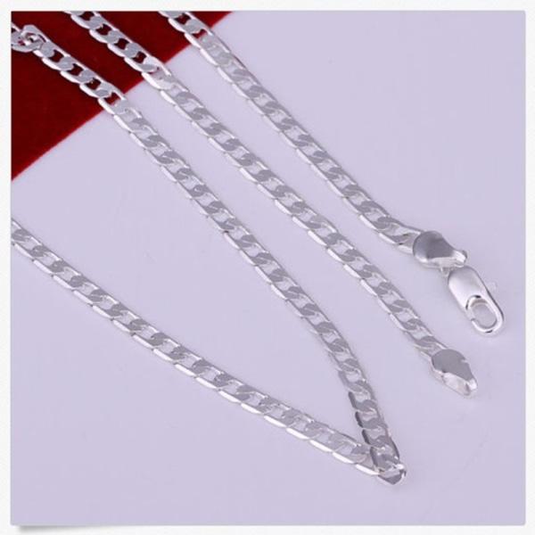 925 Sterling Silver Men Sideways Flat Chain Necklace 4MM