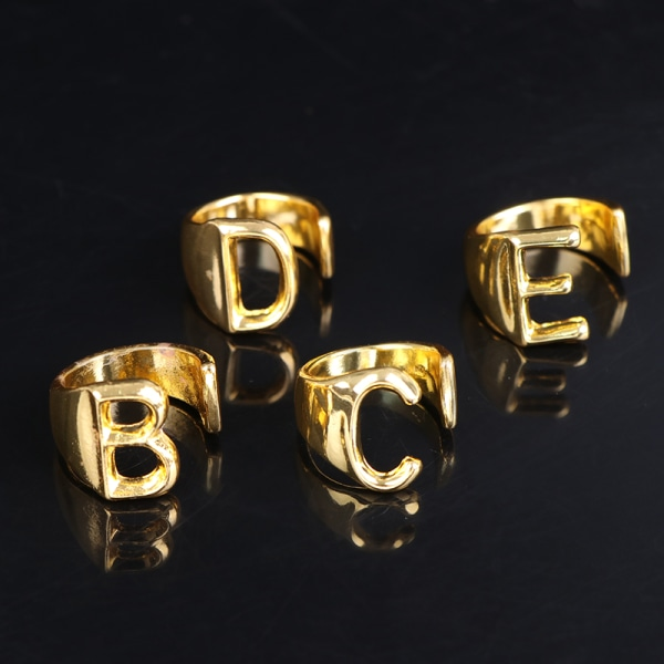 Justerbar öppen dam meningsfull guld initial ring smycken gåva