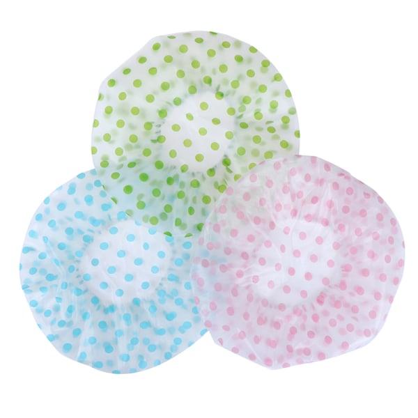 Adult Shower Cap Plastic Waterproof Reusable Hair Bath Hat Show Blue