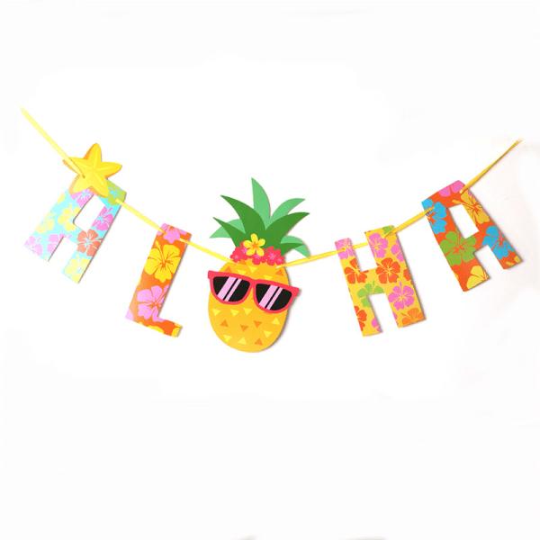 Aloha Hawaiian Tropical Pineapple Garland Bunting Home Party Ba