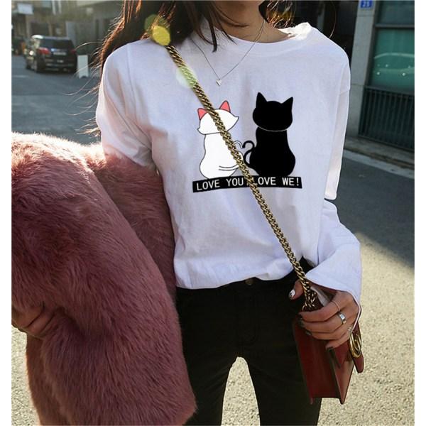 Svart och vit katt långärmad T-shirt topp botten skjorta