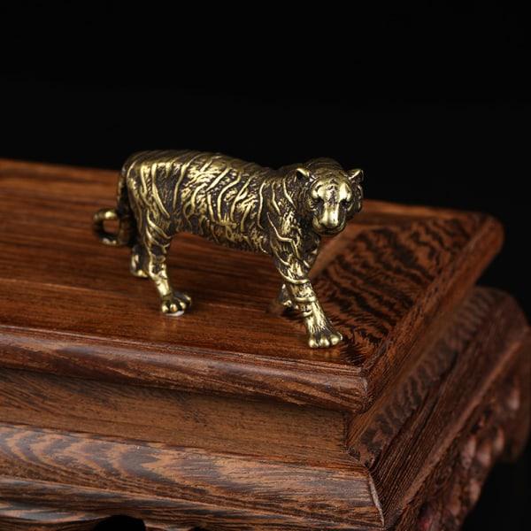 Mässing Tiger King Staty Miniatyrfigurer Zodiac Animal Orname