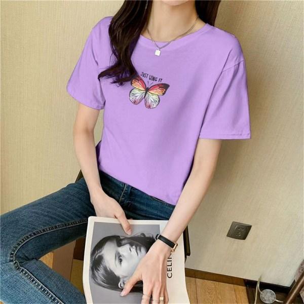 Fjärilstryck bomull kortärmad t-shirt topp kvinnor sommar