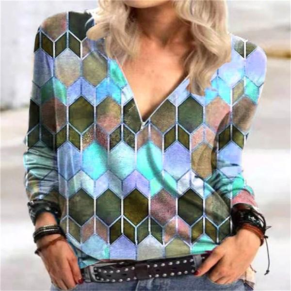 Geometriskt lutning V-ringad dragkedja långärmad T-shirt