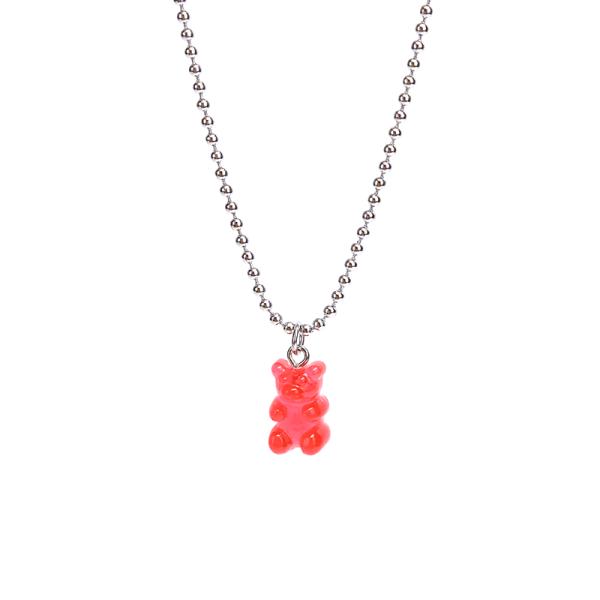 Handgjord godisfärg söt tecknad björn hänge legering halsband w