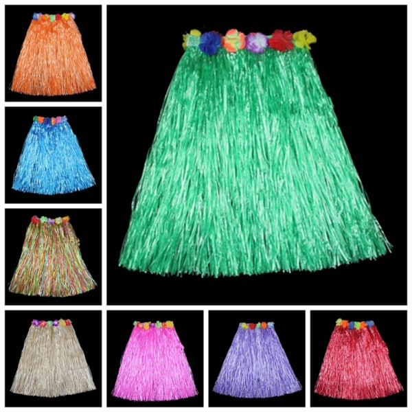 Hawaiian Dress Kjol Hula Grass Kjol med blommatillbehör A