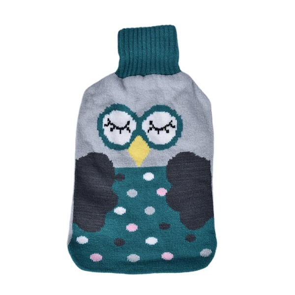 Large 2L Natural Rubber Hot Water Bottle Warm Knitted Cover Win Blue Owl