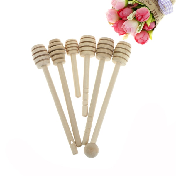 Långt handtag Wood honungsked Mixer Stick Dipper för honungburk