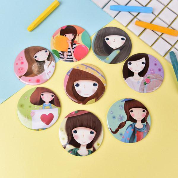 Mini Girl Series Mirror Portable Makeup Mirror Small Pocket Tra