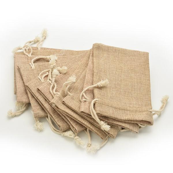 Mini Rustic Burlap Pouch Sack Drawstring Tie Bag Bröllopsfest
