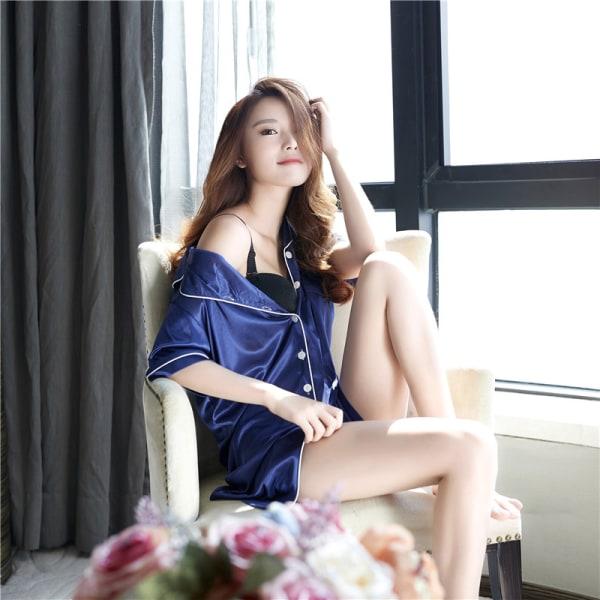 Nya europeiska stil eleganta koreanska damer Silke kortärmad hem