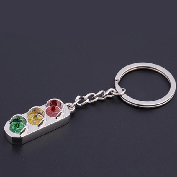 New Mini Traffic Light Car Key Ring Chain Classic 3D Keyfob Key
