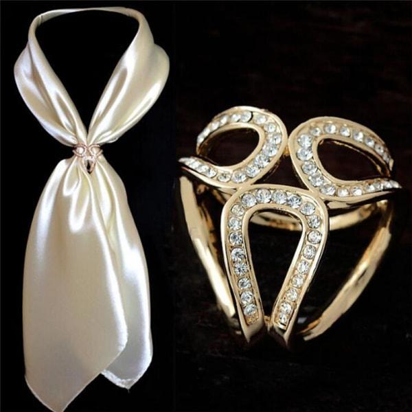 Ny silverguld Crystal Silk Scarf Clip Buckle Holder Brosch Pi