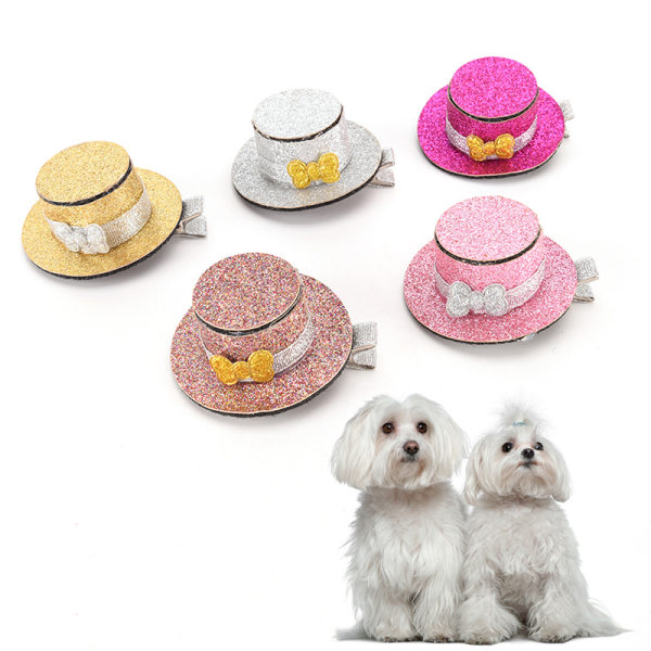 Pet Dog Cat Puppy Lovely Hairpin Sequin Top Hat Hair Clip Groom