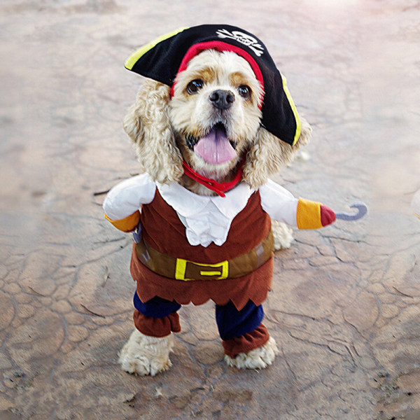 Pet Small Dog Cat Pirate Costume Outfit Jumpsuit Kläder för Ha
