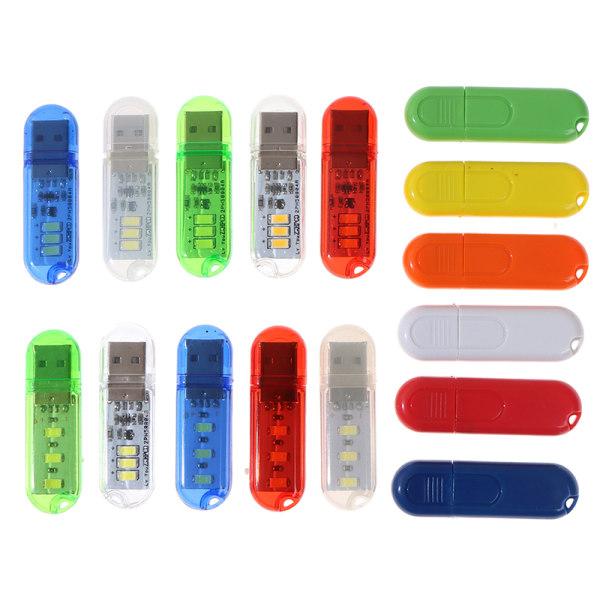 Bärbar U Disk LED-lampa 3LEDs Läslampor USB Night Lights M
