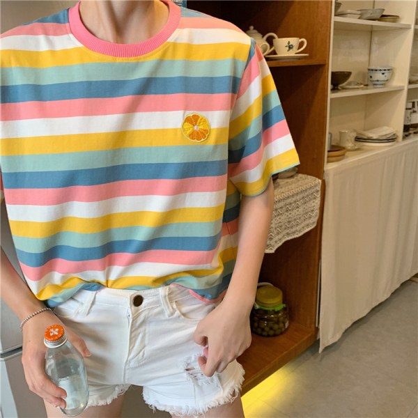 Regnbågsränder sommar kortärmad T-shirt damtopp