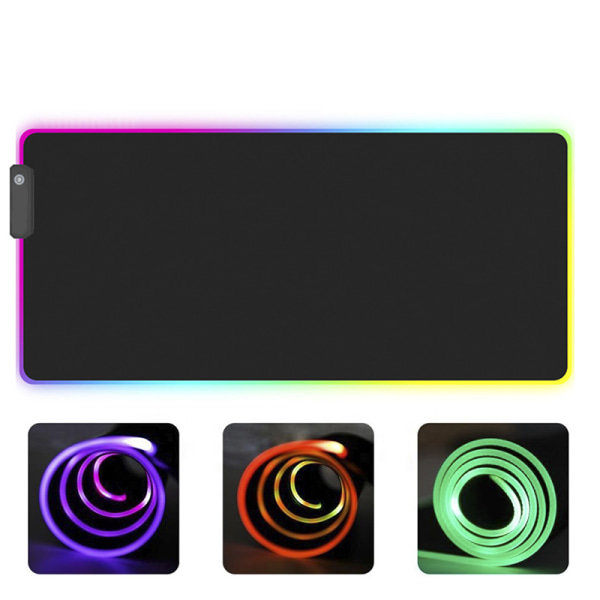 RGB Colorful LED Lighting Gaming Mouse Pad Mat for PC Laptop 250*300mm