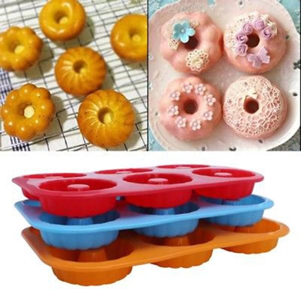 Silikon munkform 6 kavitet non-stick fullstor säker bakning