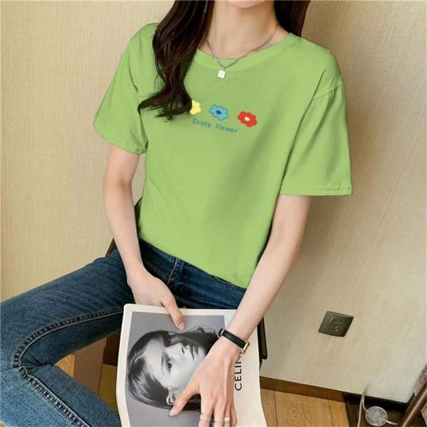 Liten blommigtryckt bomulls kortärmad t-shirt topp kvinnor sommar