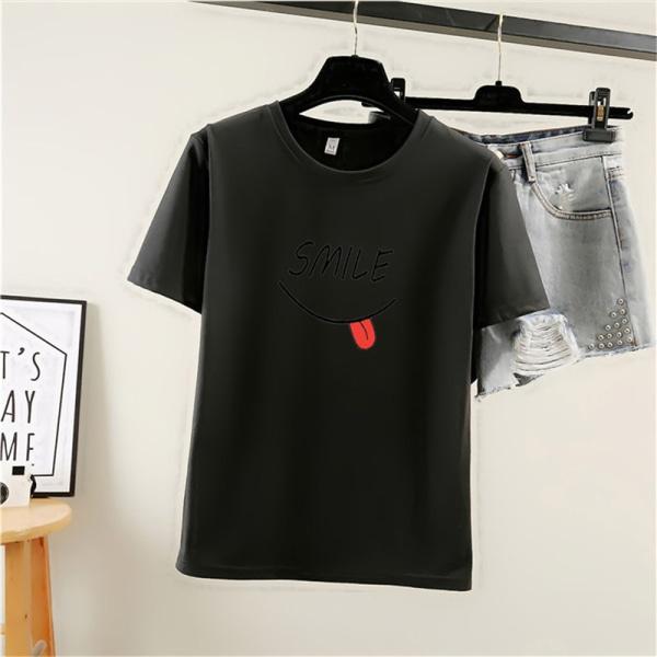 Le roligt tryckt damt-shirt kortärmad topp sommar