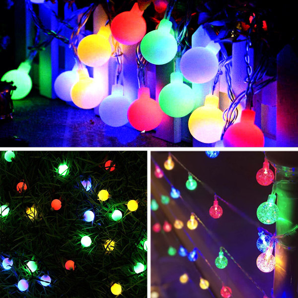 Solar Powered Globe Bulb Ball LED Fairy String Lights Garden Out