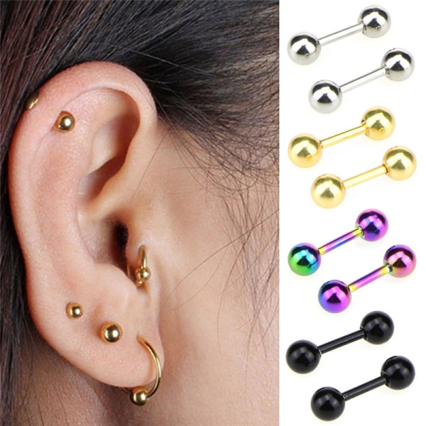 Cartilage Bar Tragus Stud Barbell Piercing with Gem Heart Surgical Steel