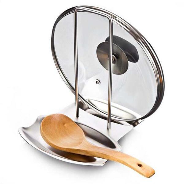 Rostfritt stål Pan Pot Rack Cover Lock Rest Stand Skedhållare