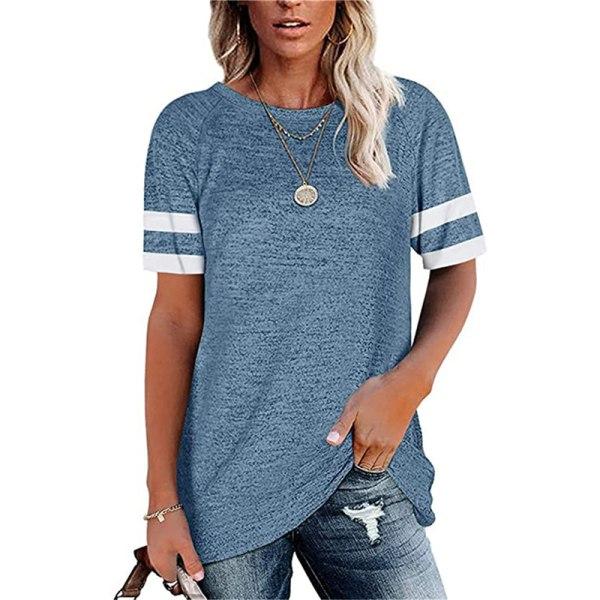 Randig kortärmad t-shirt med rund hals