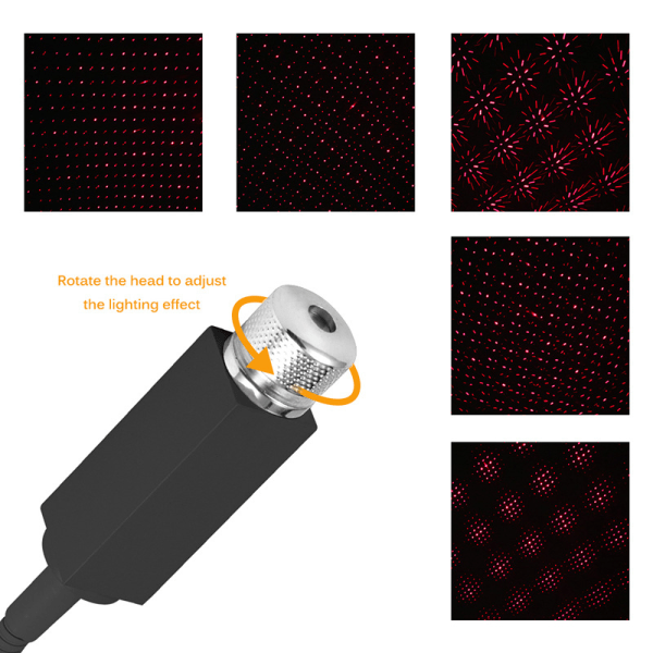 USB-bilinteriör LED-ljus takrumsatmosfär Starry Sky-lampa