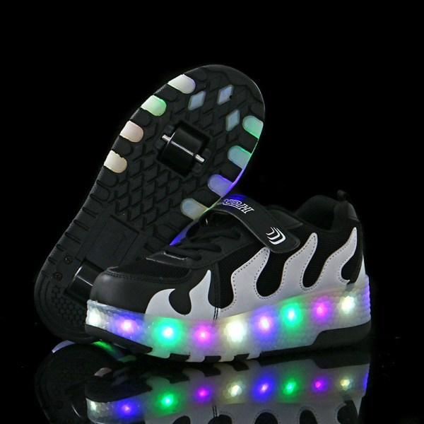 Barnmode Sneakers Tvåhjuliga modeskridskor Unisex B74 Svartvit 28