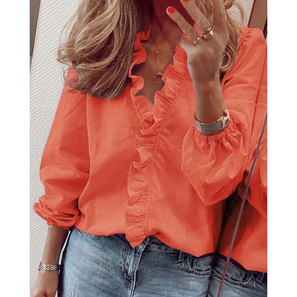 Kvinnors Lösa Casual Tryckta Långärmade Skjorta Blus Volang Orange 5XL