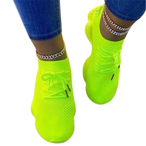 Kvinnors mesh sneakers utomhus löparskor snörning upp fritid Fluorescerande Grön 42