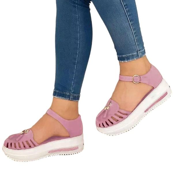 Kvinnors plattform Loafers ihåliga sandaler Sommarmode mulor Rosa 38