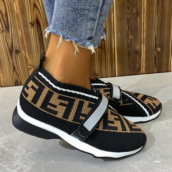 Kvinnors stretchstrumpor sneakers löparskor slip-in Svart 40