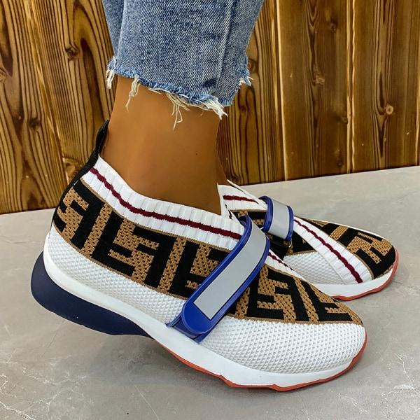 Kvinnors stretchstrumpor sneakers löparskor slip-in Vit 35