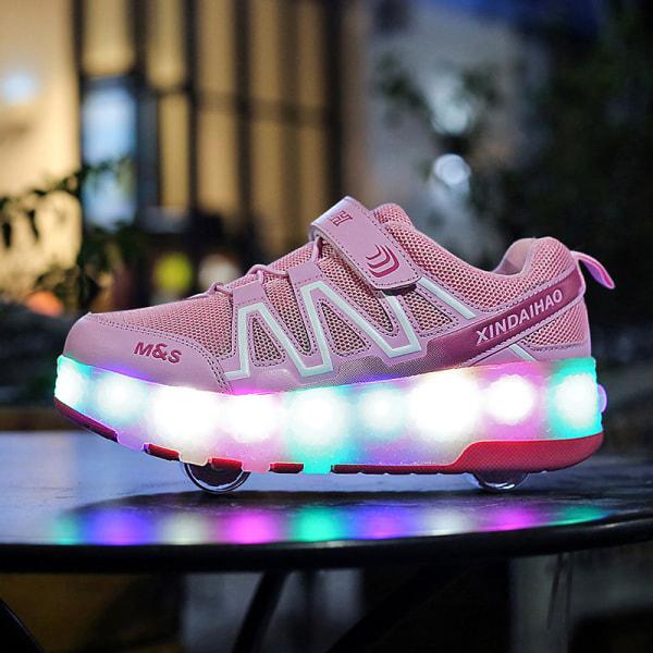 Unisex barn rullskridskor LED-ljus mode sneakers B81 Rosa 36