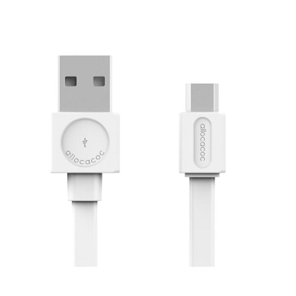 Micro USB Laddkabel 1,5m platt vit, Allocacoc, 3-PACK vit 150 cm
