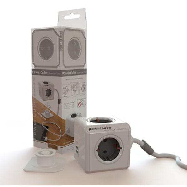 PowerCube EXTENDED + 2 USB, 1,5m Grå 44-1402 Allocacoc