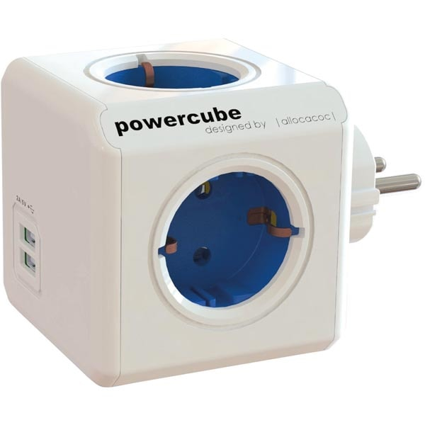 PowerCube Original 4 uttag + 2 USB blå 44-1202 Allocacoc