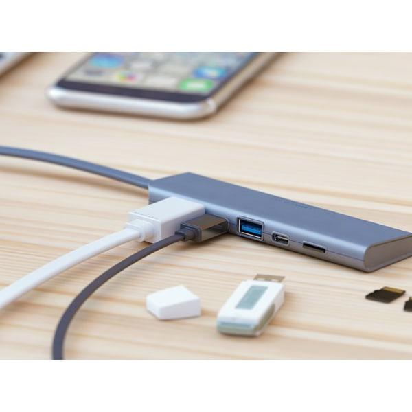 USB-C HUB: HDMI, USB-C, USB-A, USB-C (DC in), Micro-SD,Allocacoc Silver/ Grå